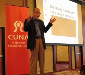 Doug Stevenson delivers a keynote on storytelling for trainers at CUNA conference