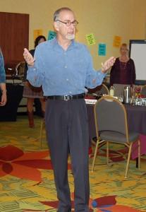 Doug Stevenson leads a workshop for leaders on strategic storytelling in business